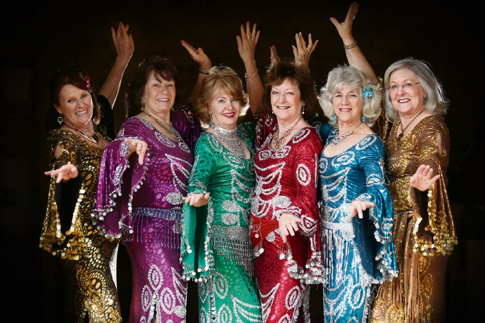 Sue Skudder (Wannaroo), Sue Gross (Balcatta), Brenda Otway (Hillarys), Ann Barker (Edgewater), Joy Saunders (Woodvale) and Yvonne Hedges (Clarkson), members of the Diamondtease dance troupe aged from 76-80 that will be preforming at a City of Bayswater Harmony Week function. Picture: Andrew Ritchie