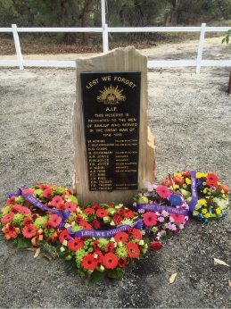 Wreathes laid at the Banjup Memorial Park Anzac service in 2016.
