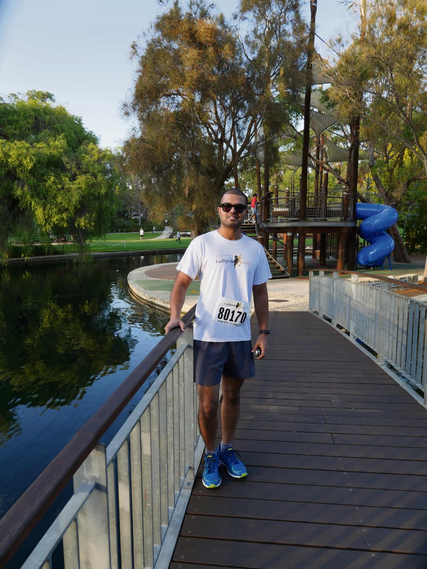 Ellenbrook resident Himanshu Vassanpal took part in the 8km Gallipoli run.
