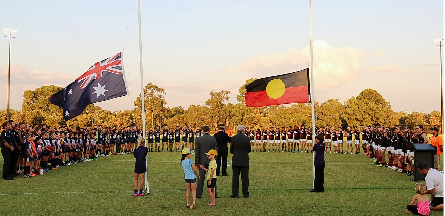 The Anzac Day service before Ellenbrook took on Belmont. Picture: Rob Peach