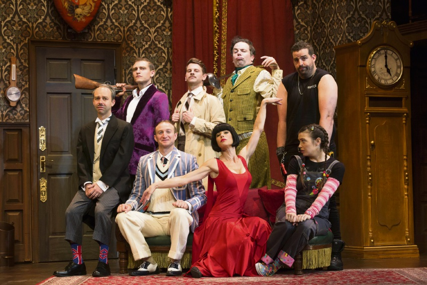 Adam Dunn (top right) with The Play That Goes Wrong cast.