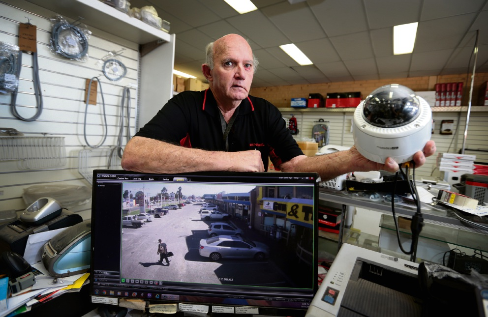 Business owner Graeme Harris has installed several security cameras at his Great Eastern Highway business. Picture: David Baylis        www.communitypix.com.au   d468516