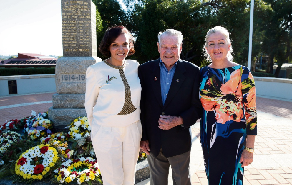 Cowan MHR Anne Aly, Wanneroo RSL president Jack Le Cras and Wanneroo Mayor Tracey Roberts. Picture: Martin Kennealey d468608
