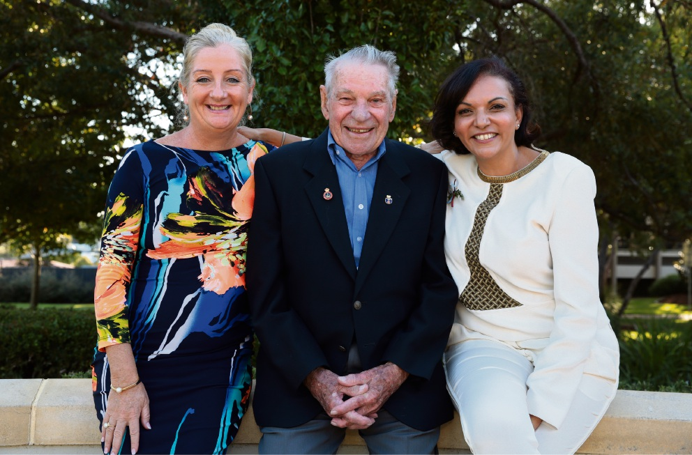 Wanneroo Mayor Tracey Roberts, Wanneroo RSL president Jack Le Cras and Cowan MHR Anne Aly. Picture: Martin Kennealey d468608