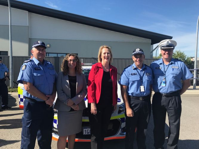 Ellenbrook Police Station officer in charge Wal Brierly, Swan Hills MLA Jessica Shaw, Police Minister Michelle Roberts, Commander Brad Royce and Superintendent Kim Massem at today's announcement in Ellenbrook.