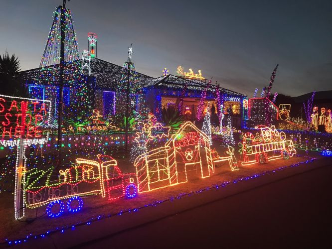 One of the amazing Christmas light displays that helped the Perth Children's Hospital Foundation buy a new ambulance.