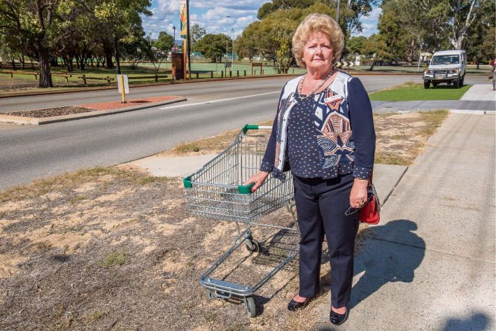 Canning counicllor Margaret Hall stands on a street verge in need of attention on Dumond Street, Bentley. Picture: Emma Geary