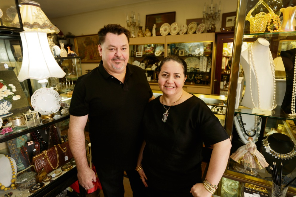 Eddie and Emma Gryg from Subiaco Antiques and Fine Jewellery have negotiated a rent reduction so they can stay in Subiaco.  Picture: Andrew Ritchie  d468551
