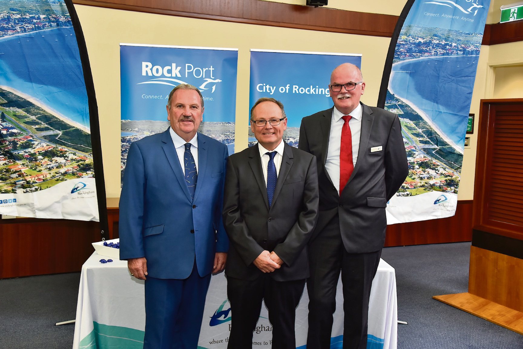 City of Rockingham chief executive Andrew Hammond (right) with Mayor Barry Sammels and Minister for Local Government David Templeman at the launch of Rock Port.