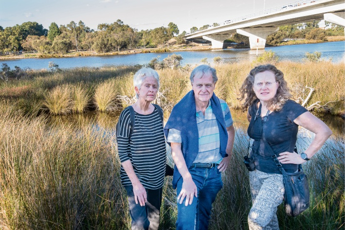 CRREPA president Stephen Johnston (centre) with Colma Keating and Grecian Sandwell at Shelley Bridge wetland. Picture: Emma Geary