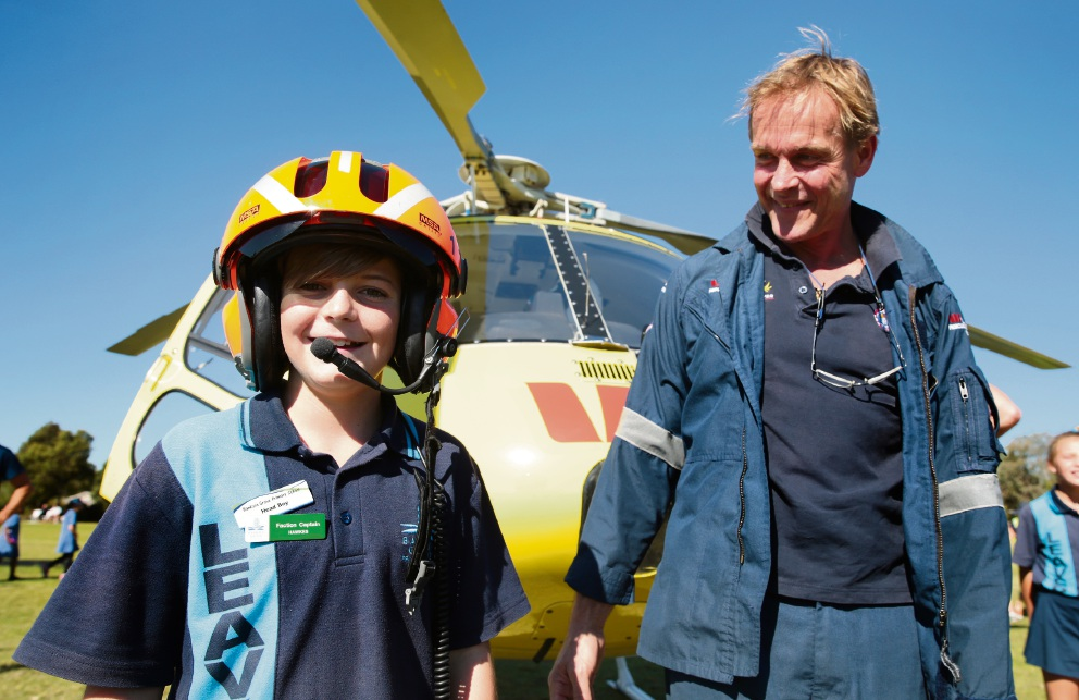 Banksia Grove students get flying visit from rescue chopper