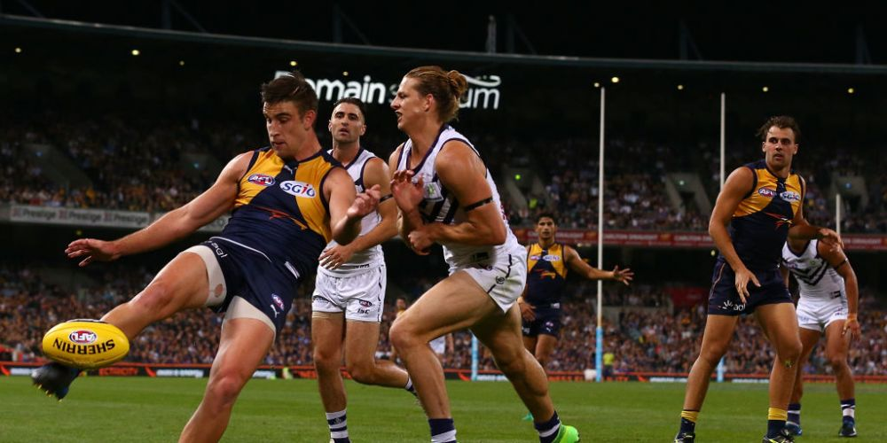 Nat Fyfe and West Coast's Elliot Yeo. Picture: Getty Images