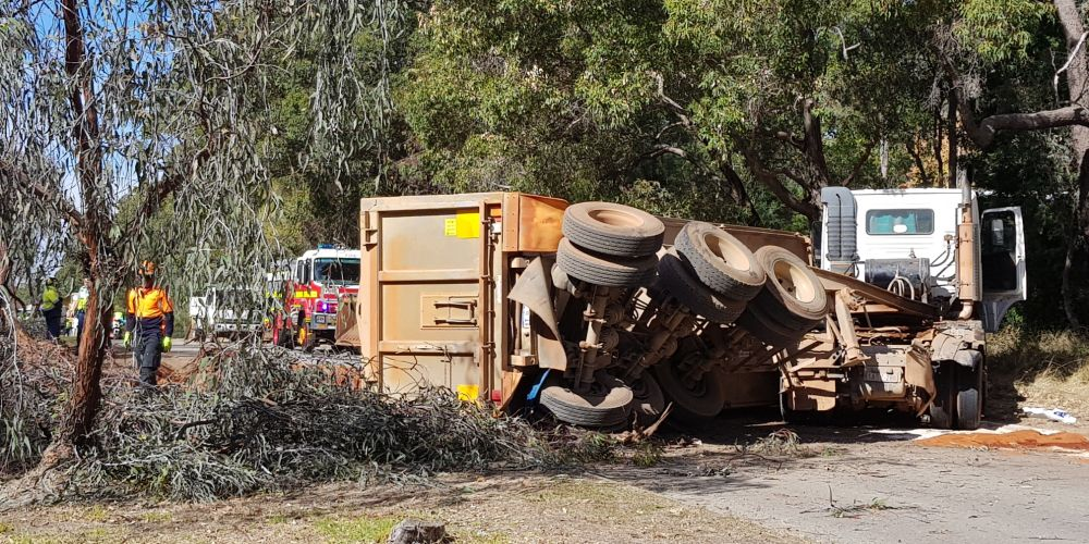 The truck rollover on Great Eastern Hwy in Mundaring. Picture: David Baylis