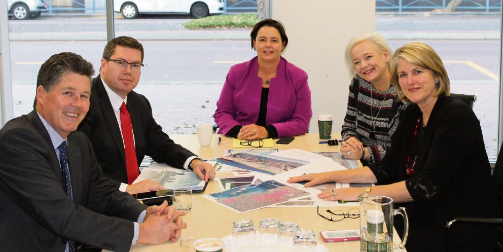 Kwinana Industries Council director Chris Oughton, Shadow Assistant Minister for Infrastructure Pat Conroy, Brand MP Madeleine King, Kwinana chief executive officer Joanne Abbiss and Mayor Carol Adams discuss the Kwinana Outer Harbour project.