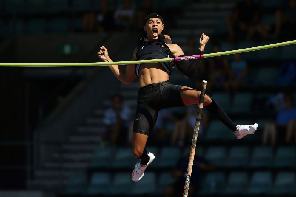 Sasha Zhoya has returned from the Australian National Athletics Championships with two world leads for his age group in the pole vault and 110m hurdles. Picture: Mark Kolbe/Getty Images