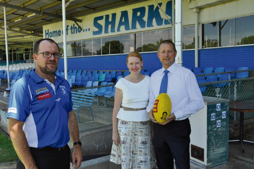 East Fremantle Football Club chief executive Todd Shimmon, Planning Minister Donna Faragher and Liberal candidate for Bicton Matt Taylor.
