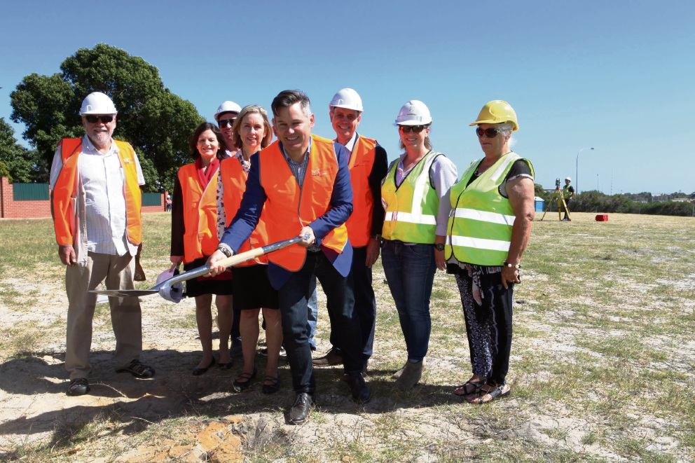 Fremantle Mayor Brad Pettitt (front, holding shovel) and Fremantle MLA Simone McGurk (fourth from left) with representatives from Lotterywest, the Whadjuk Working Party, Friends of Cantonment Hill and Ecoscape landscape consultants.