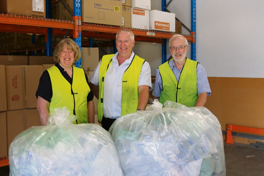 Stomal therapy nurse Kate Brereton, warehouse manager Gary Baxter and WA Ostomy Association volunteer Phillip Gregory.