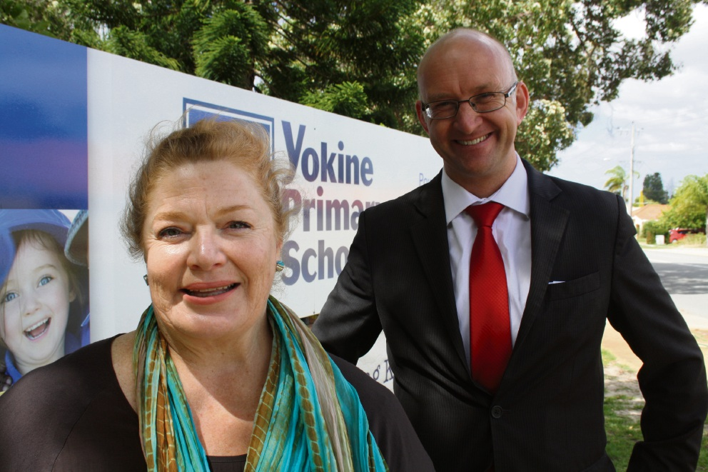 Labor education spokesperson Sue Ellery with Mount Lawley candidate Simon Millman. Picture: Giovanni Torre.