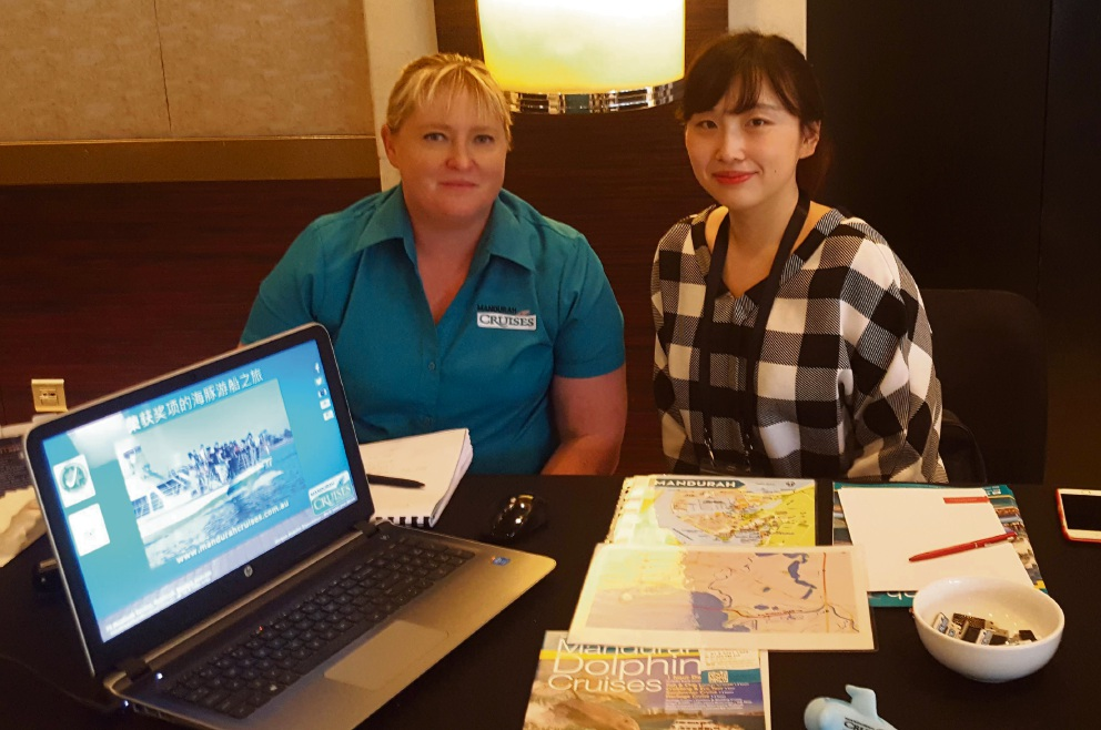 Melissa Jones, from Mandurah Cruises, with a tourism agent she met in China.