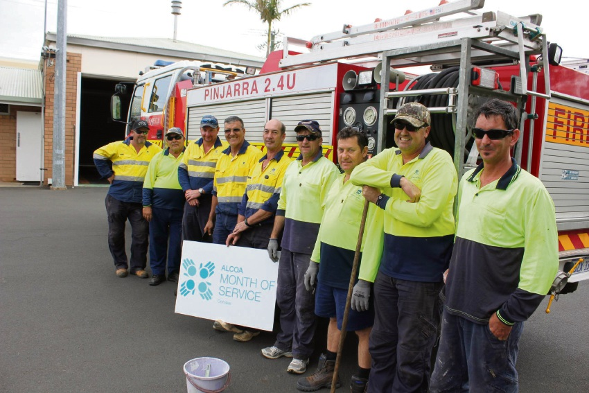 Employees from Alcoa's Huntly Mine volunteered with the Pinjarra Fire and Rescue last October.