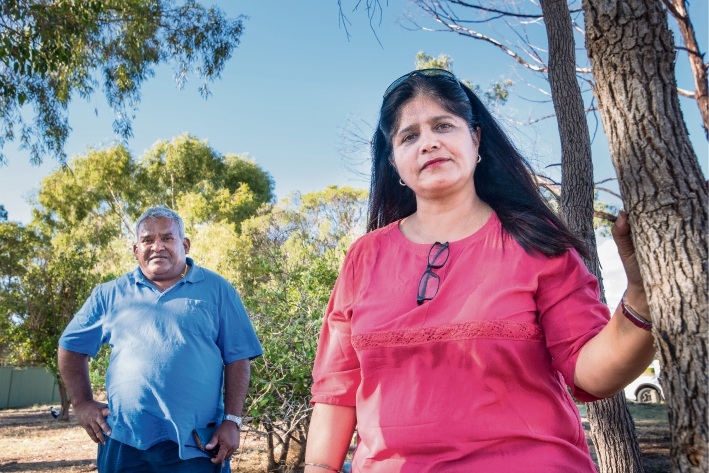 East Cannington residents Neville Lobo and Termit Kaur want the City to help stop crime in their suburb by developing vacant land on Gianatti Ramble. Picture Emma Geary