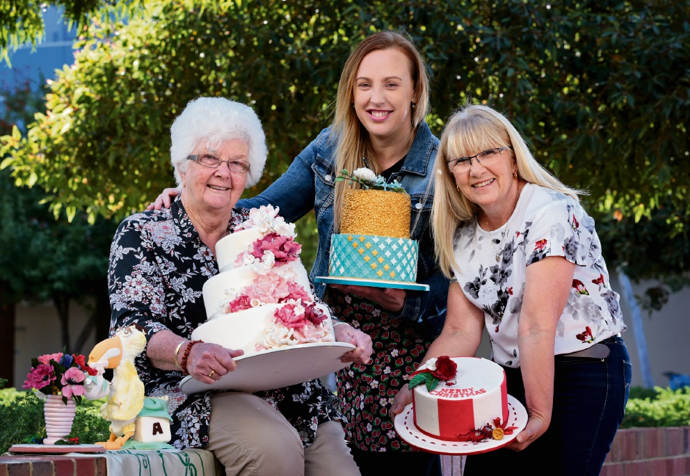 Members of the Cake Decorators Association of WA Swan Districts Branch Pat Connelly (assistant treasurer), Sarah Paul (president) and Kerry Webb (assistant secretary). Picture: David Baylis