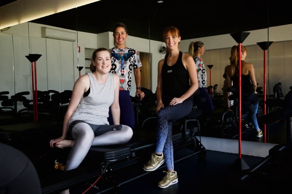 Cassy McDonald with LA Fit owners Jaye Cuypers and Claire Chidgzey. Picture: Andrew Ritchie d468804
