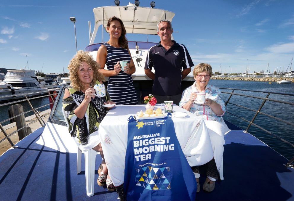 Christine Churchman, Rebecca Easterbrook, The Classy Lady skipper Elio Allegretta and Biggest Morning Tea host Mary Easterbrook.