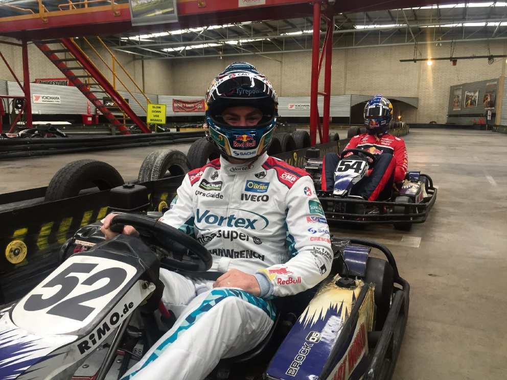Craig Lowndes prepares for the go karting challenge.