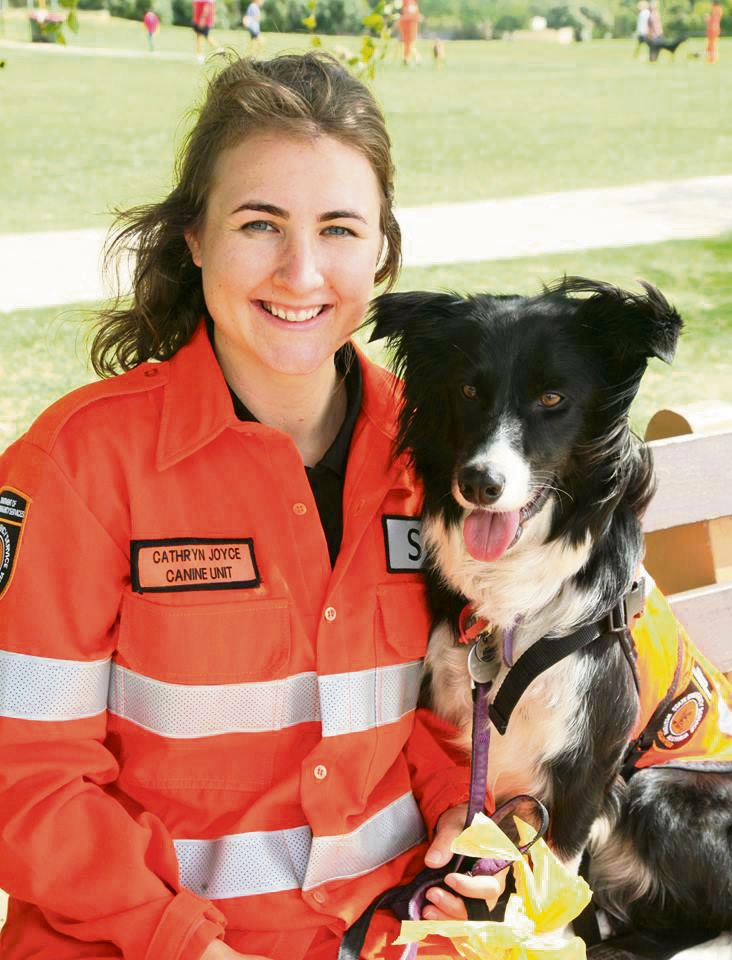 Cathryn Joyce and her dog Holly are both SES volunteers in the Canine Unit. Picture: supplied
