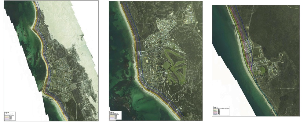Coastal erosion forecast maps for Lancelin (left), Ledge Point (centre) and Seabird (right).
