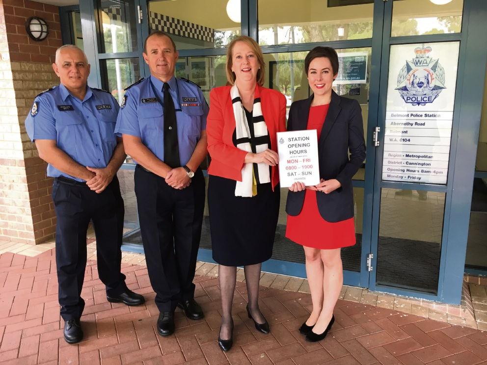 Senior Sergeant Peter Woollons, Superintendent Brad Sorrell, Police Minister Michelle Roberts and Belmont MLA Cassie Rowe.