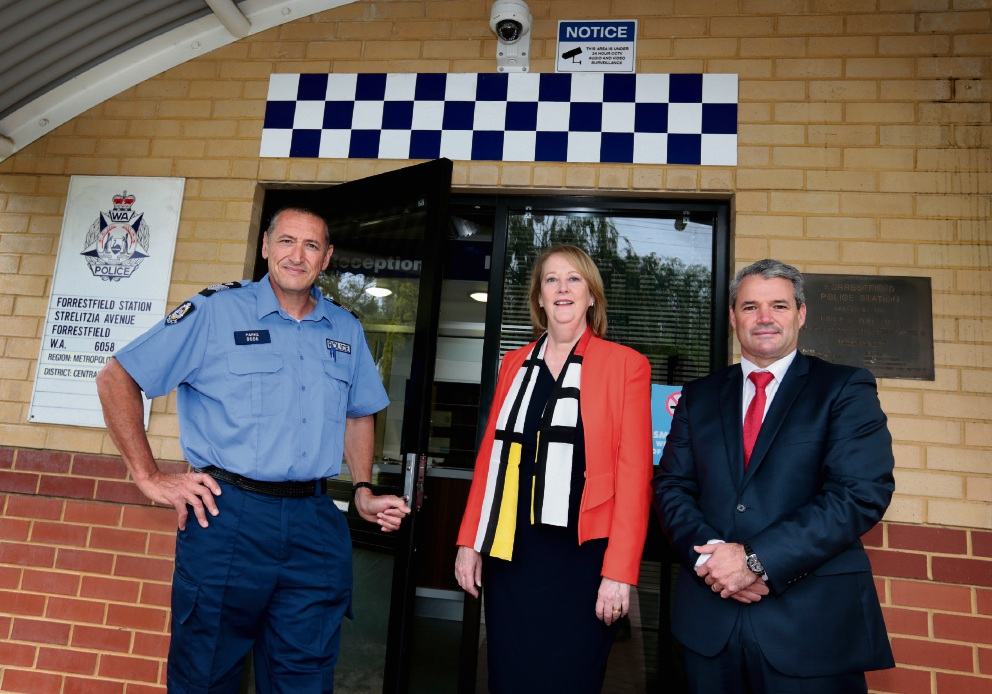 Forrestfield officer in charge Senior Sergeant Simon Parke, Police Minister Michelle Roberts and Forrestfield MLA Stephen Price MLA. Picture: David Baylis