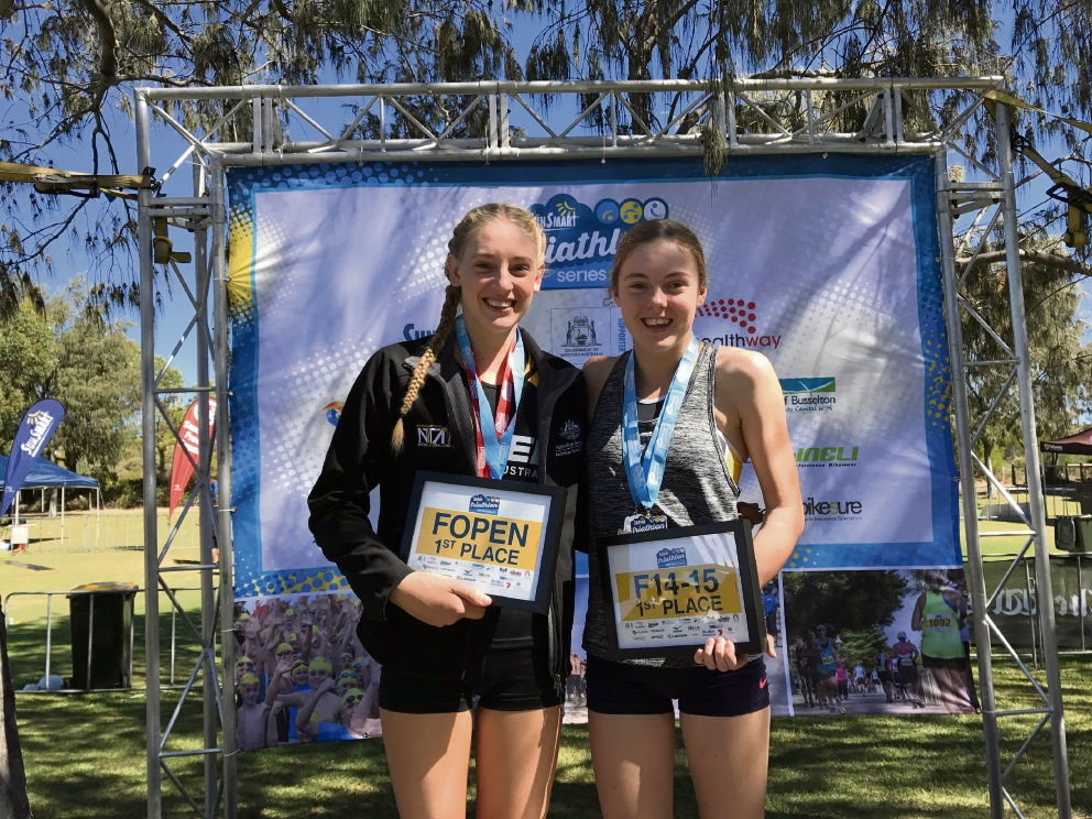 Jessica Claxton (17) and Jasmine Greaves (14), both of Hillarys, won triathlon titles recently.