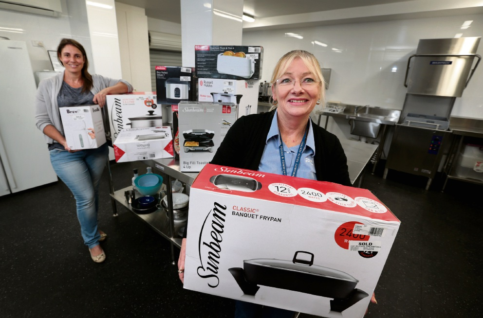 Dawn Santos and Jackie Abbott with some of the items donated by The Good Guys for the PCYC canteen, which will help the Safe Space program at the Midland PCYC. Picture: David Baylis