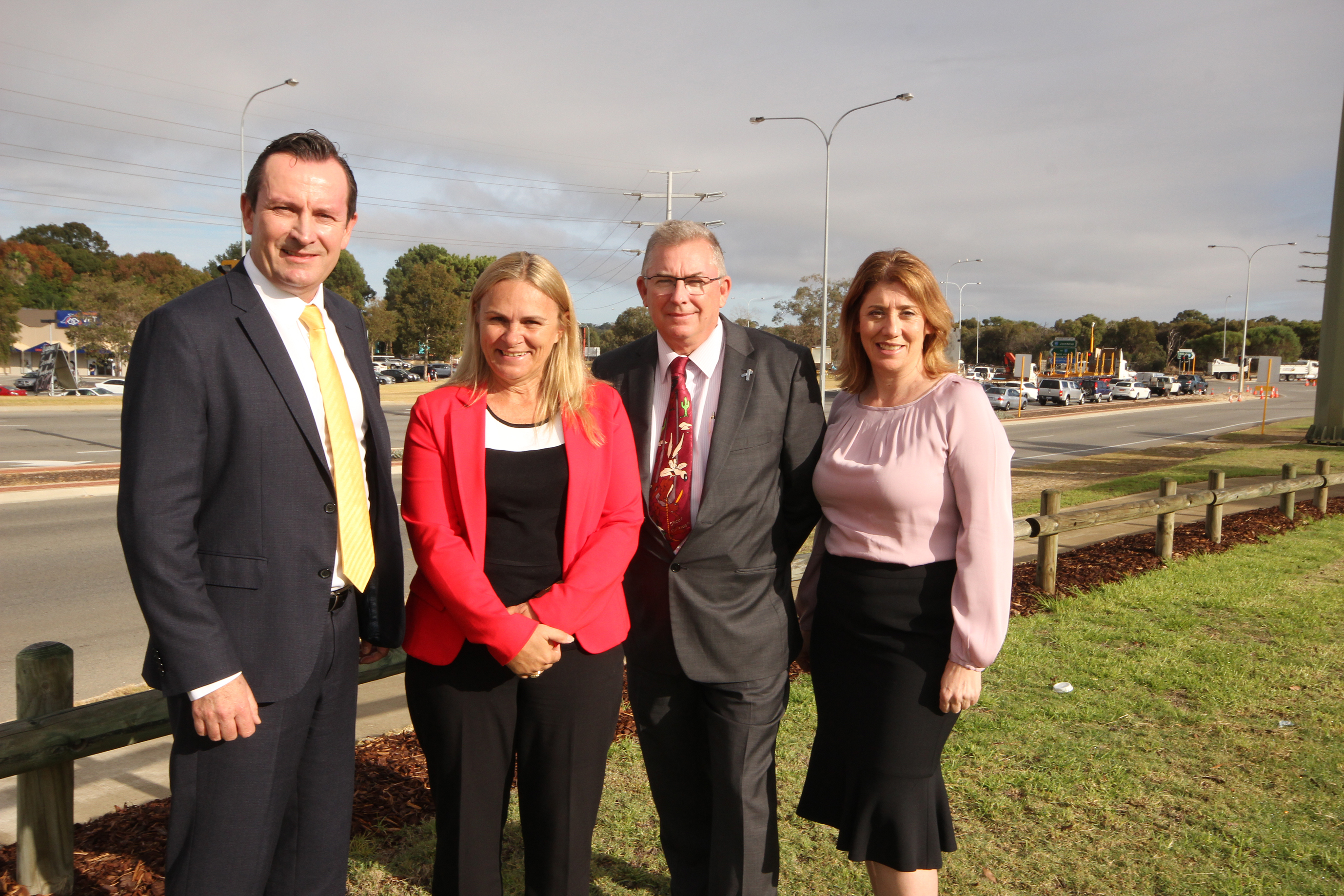 From left: Premier Mark McGowan, Wanneroo MLA Sabine Winton, Burns Beach MLA Mark Folkard, Transport Minister Rita Saffioti. Photo: Lucy Jarvis