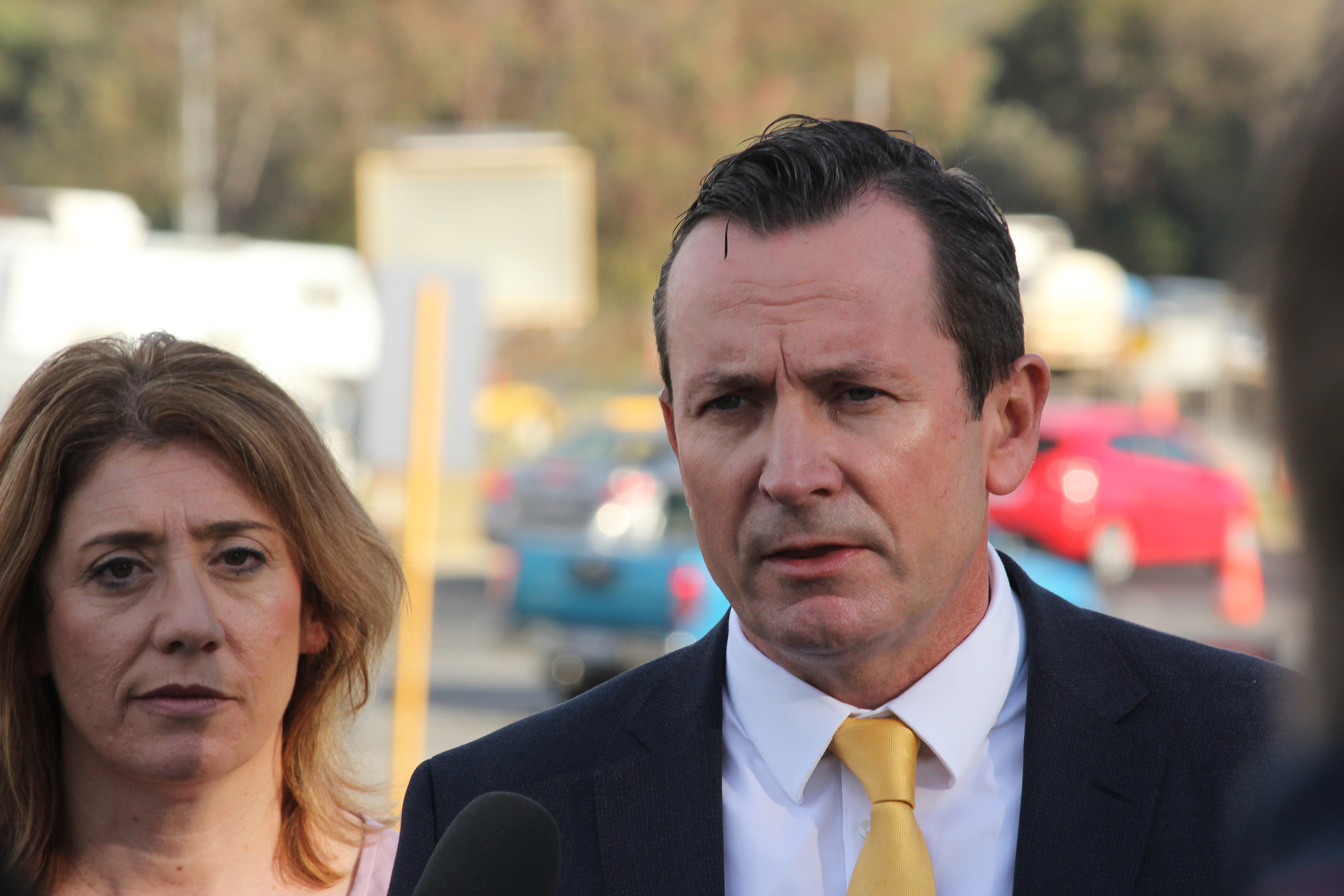 Premier Mark McGowan and Transport Minister Rita Saffioti. Picture: Lucy Jarvis