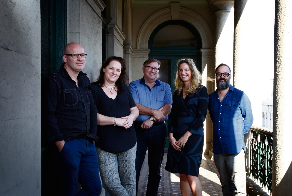 Notre Dame lecturers (from left) Martin Drum, Deborah Gare, Shane Burke, Mignon Shardlow and Daniel Baldino will talk at this year's Fremantle Heritage Festival. Picture: Marie Nirme        www.communitypix.com.au   d468436