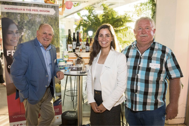 Peel Development Commission chairman Paul Fitzpatrick, Nadine Heinen from MAPTO and Bernie Worthington from Drakesbrook Wines.