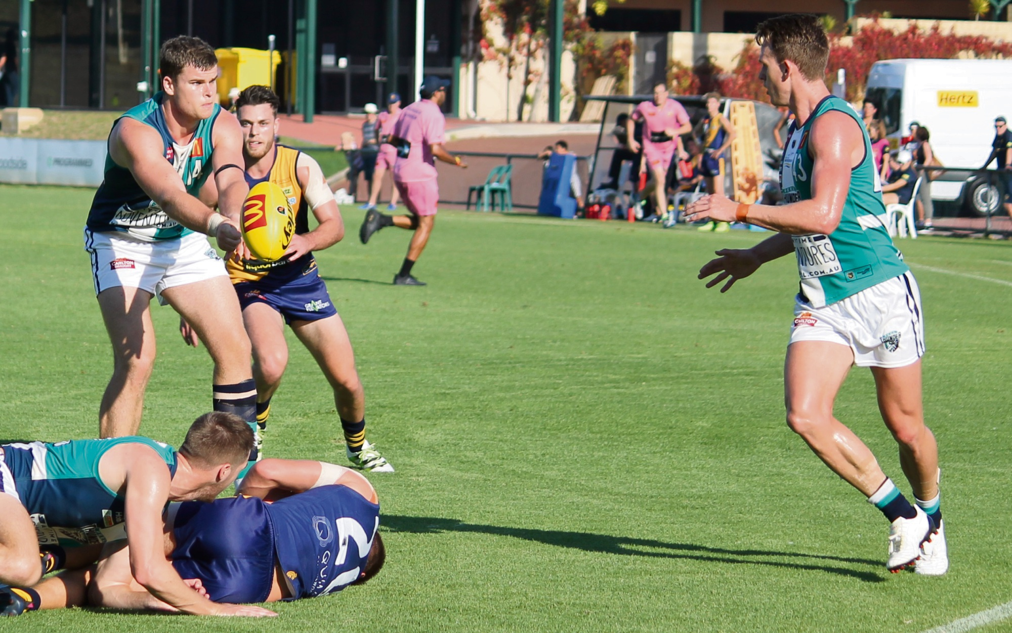 Leroy Jetta pounces on the footy in the forward pocket.