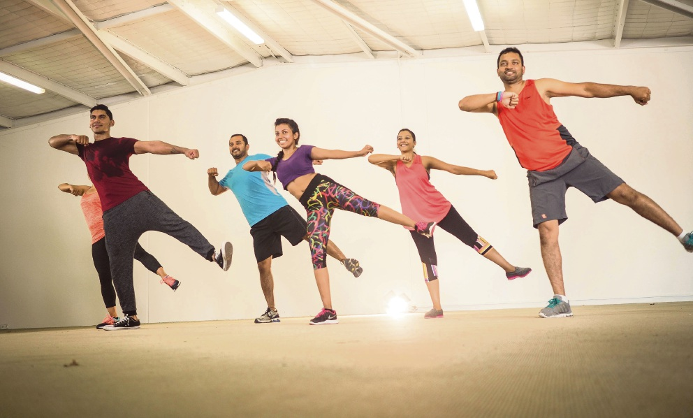 Bolly Active with Ro fitness instructor Ro Vithanage (centre) and class participants.