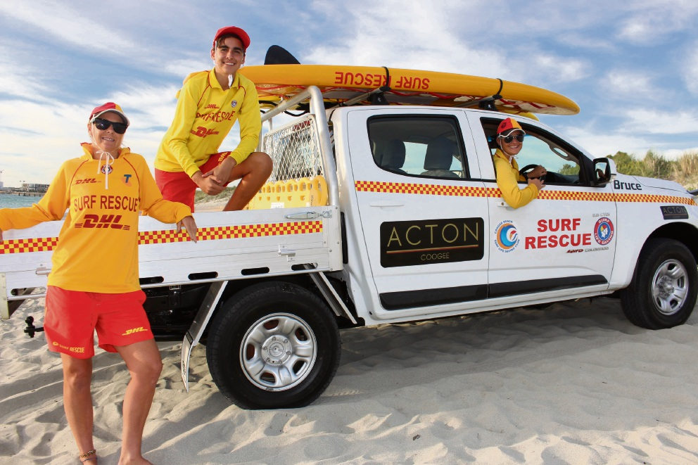 Coogee Beach Surf Life Saving volunteers Cath Spencer, Budda McDonald and Coogee Beach SLSC lifesaving director Sarah McDonald.