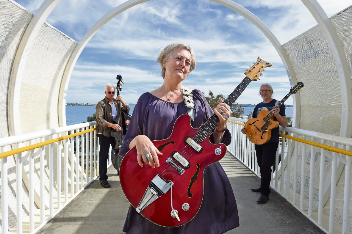 Jane Cornes, Chris Clark (double bass) and Neil Steward (guitar) will perform to support women and children in domestic violence situations. Picture: Jon Hewson           d468591