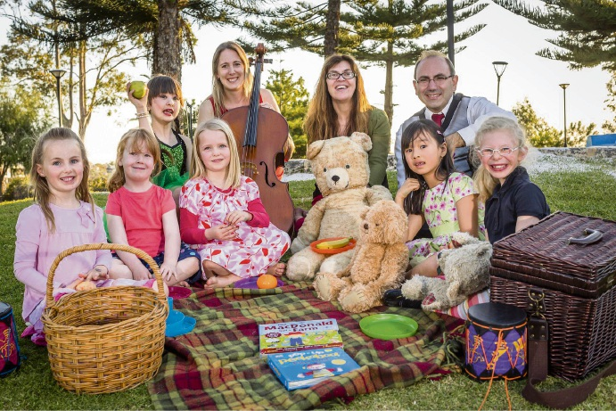Music Book performers cellist Melinda Forsythe, narrator Danielle Joynt, and pianist Tommaso Pollio, enjoying a Teddy Bears' Picnic. Picture: Nik Babic Photography
