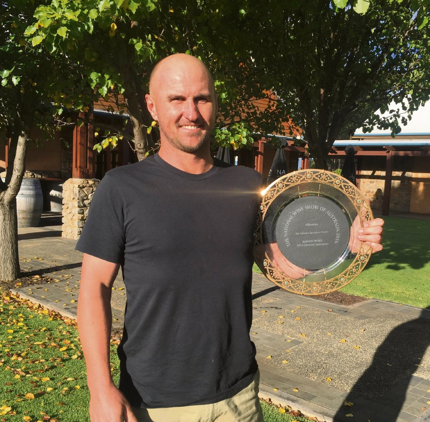 Surfer and Xanadu winemaker Glenn Goodall with the Champion National Wine Show 2016 Cabernet Trophy.