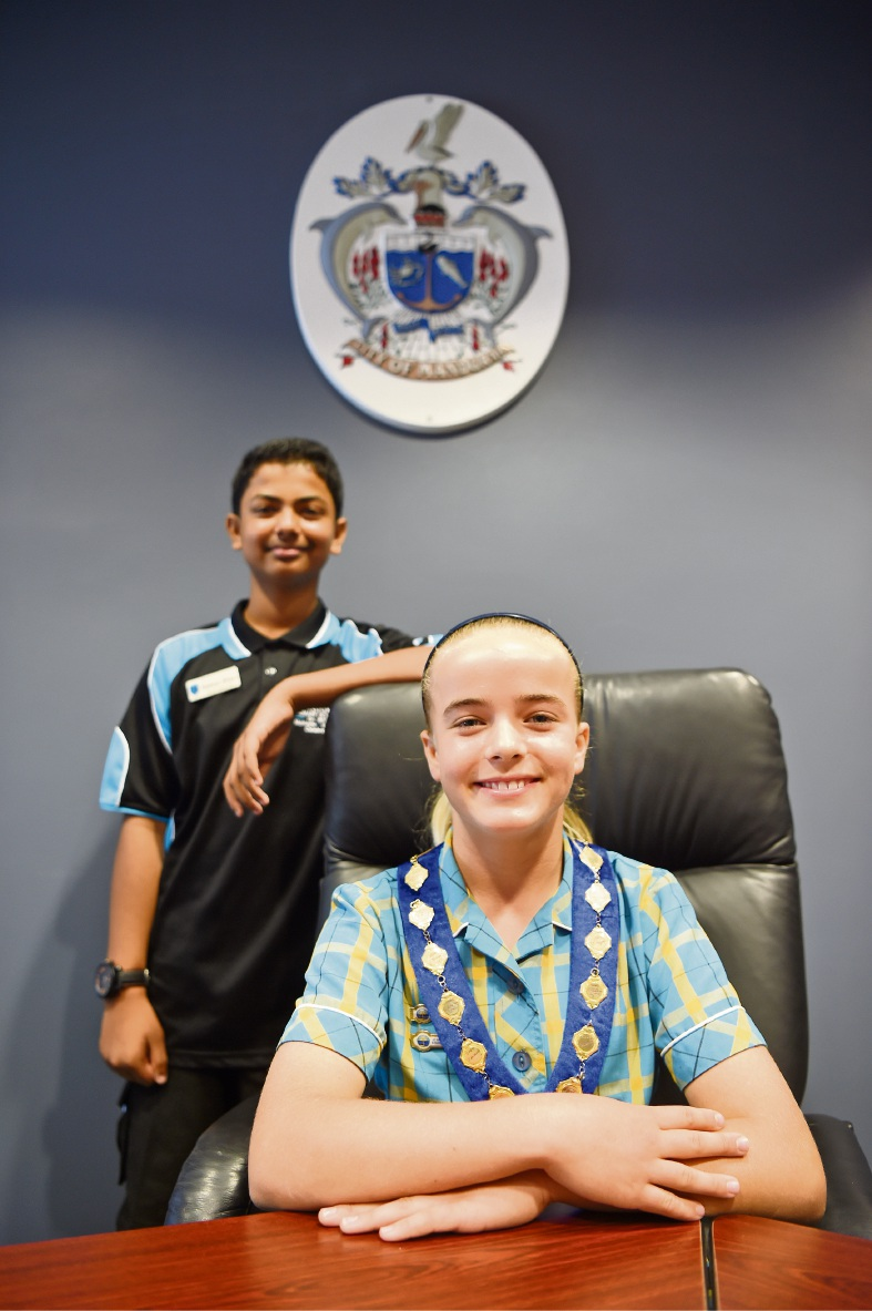 Mandurah Junior Mayor Jordan Greaves and Deputy Junior Mayor Nehan Rhan. Picture: Jon Hewson