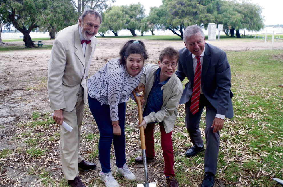 Nedlands Mayor Max Hipkins, left, Bella Hopewell, Justin Lekias and Nedlands MLA Bill Marmion officially break the ground for the All Abilities Play Space.