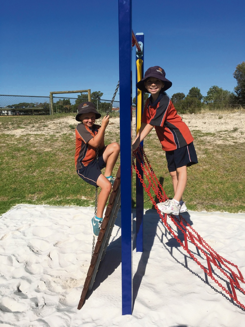 Meadow Springs PS students enjoying new obstacle course