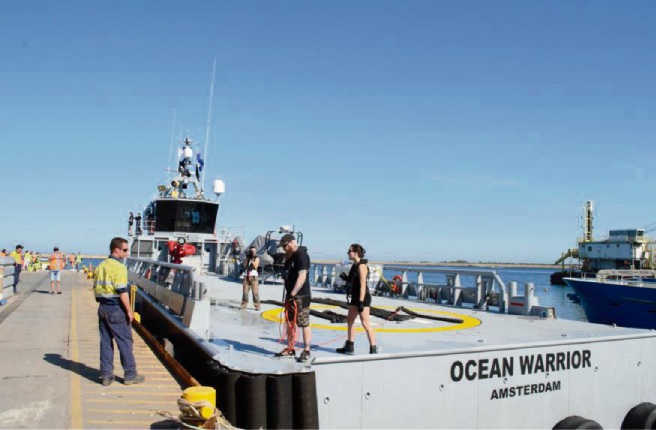 Sea Shepherd's Ocean Warrior docks at Henderson for repairs